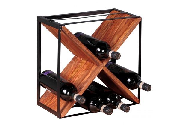 Wohnling Weinregal Massiv-Holz Sheesham Flaschenregal für ca. 16 Flaschen mit Metallrahmen Holzregal X-Form