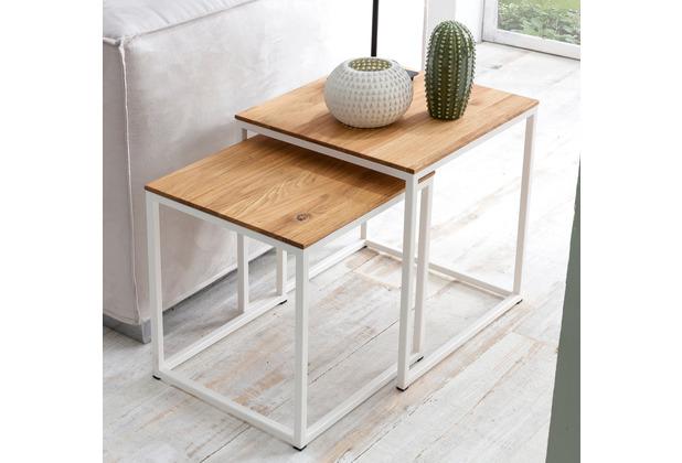 Woodlive Couchtisch Cube 2er-Set weiß 40x40 cm