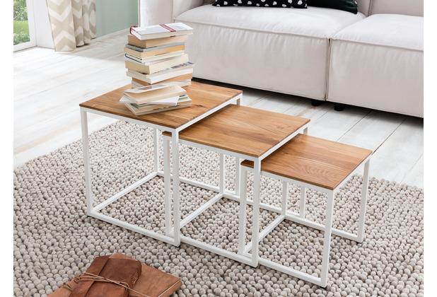 Woodlive Couchtisch Cube 3er-Set 40x40 cm weiß