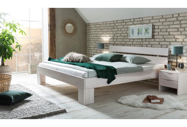 Woodlive Massivholzbett Easy Weiß 140x200  cm