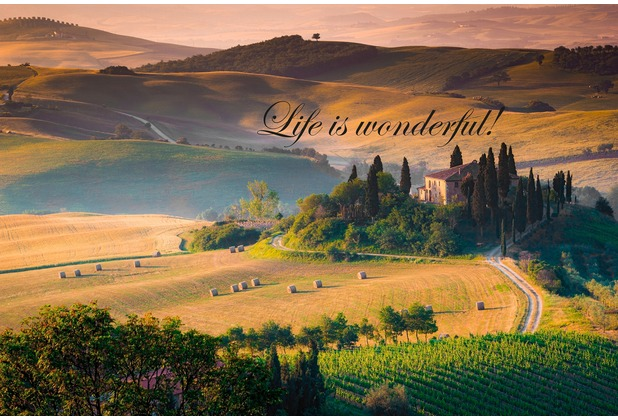 XXLwallpaper Fototapete Life is Wonderful Text 150 g Vlies Basic 2,00 m x 1,33 m