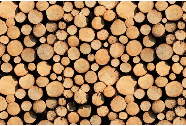 XXLwallpaper Fototapete Stack of Wood 150 g Vlies Basic 2,00 m x 1,33 m
