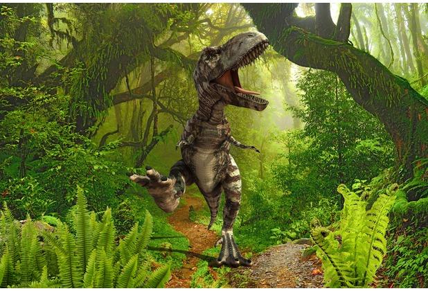 XXLwallpaper Fototapete T-Rex in Jungle 150 g Vlies Basic 2,00 m x 1,33 m
