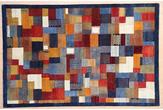 Zaba Gabbeh-Teppich Lorri Nomad blau/multi 70 x 140 cm