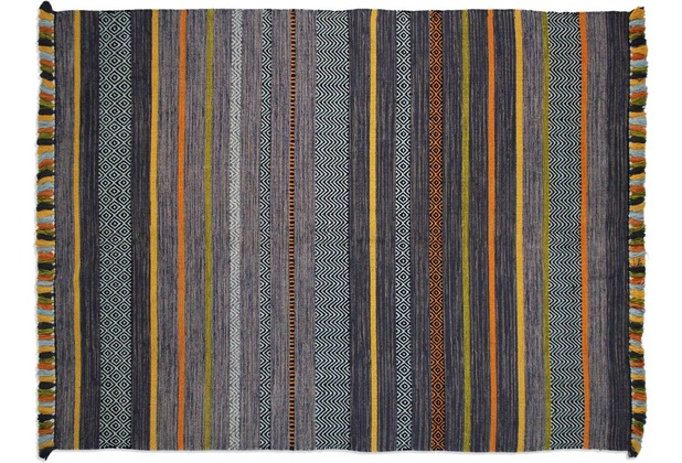 Zaba Handwebteppich Kalleen anthrazit 60 x 90 cm