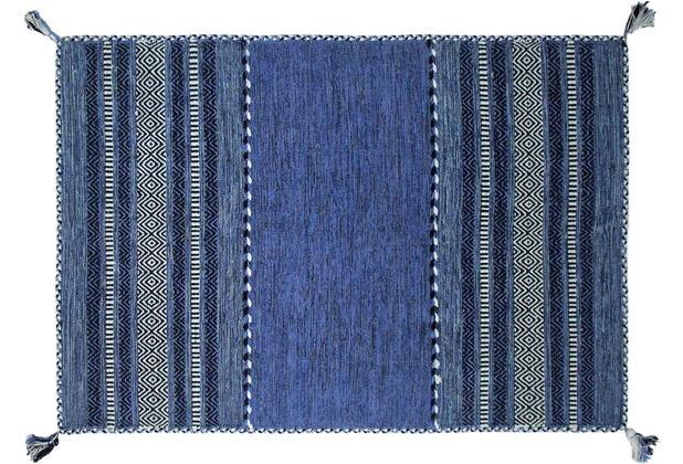 Zaba Handwebteppich Navarro blau 60 x 90 cm