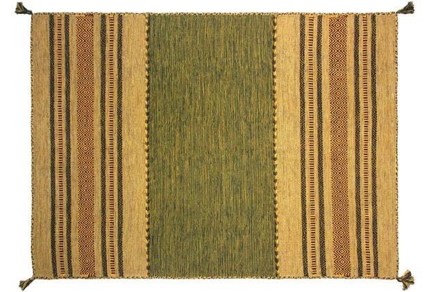 Zaba Teppich Navarro handgewebt grün 60 x 90 cm