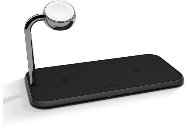 ZENS Aluminium Dual Wireless Charger + Apple Watch Charger 10W, Qi, schwarz