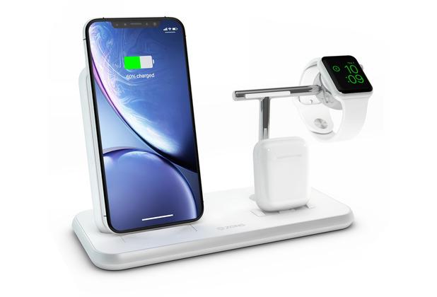 ZENS Aluminium Stand + Apple Watch + Dock, Qi, weiß, ZEDC07W/00