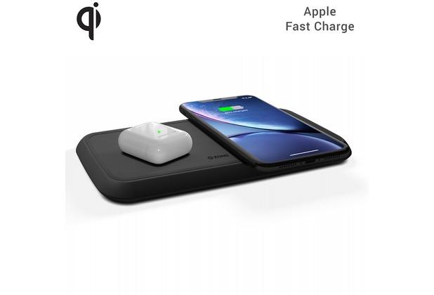 ZENS Dual Wireless Charger 10W mit Netzteil (EU/UK/US), Qi, schwarz, ZEDC02BP/00