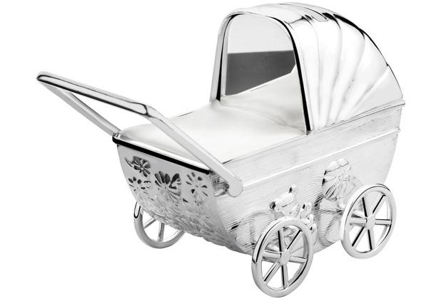 Zilverstad Spardose Kinderwagen mit Gravurplatte 11x5,5x10cm versilbert und anlauf geschützt