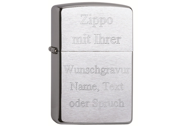 Zippo Feuerzeug MIT DIAMANTGRAVUR (z.B. Namen, Datum, Initialen) PL 200 Chrome Brushed Benzinfeuerzeug Gravur