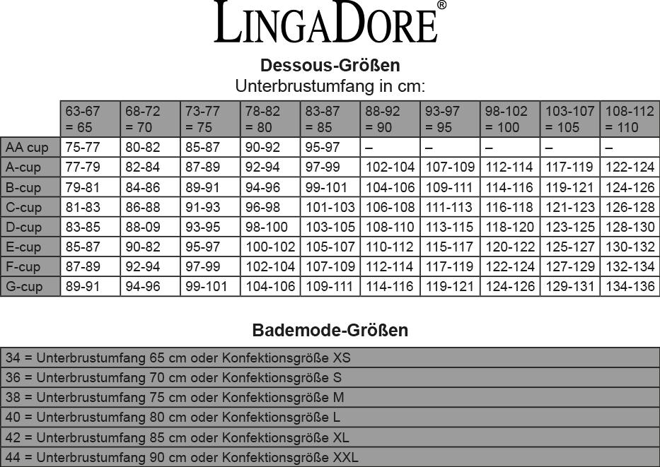 LingaDore Größen-Tabelle