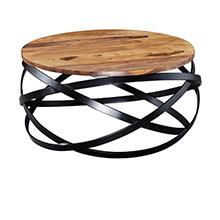 Wohnling Couchtisch MANUR 60x30x60 cm Sheesham Massivholz / Metall Sofatisch